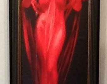 4x10 LADY in RED Pin-Up Roy Best Big Band Jazz Singer PinUp Anita O'Day Deco Vintage  Radio Microphone sheer Red Dress gown