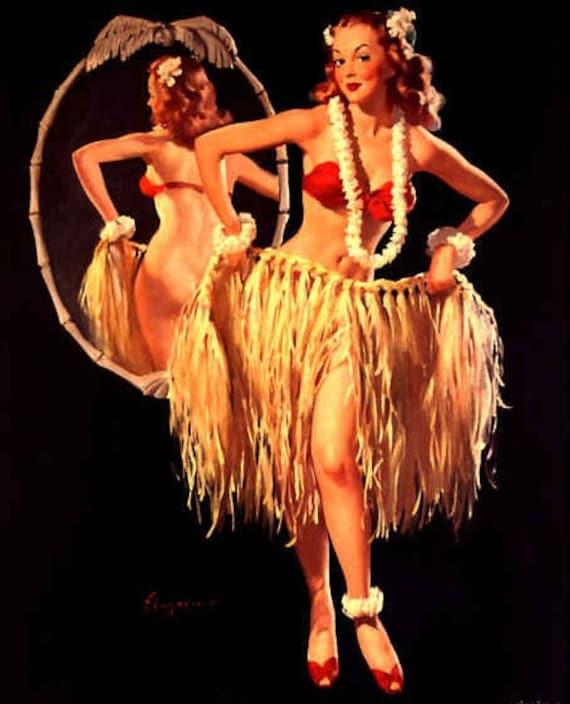 ELVGREN - DRAWING STRAWS - Pinup - Tiki Deco Hula Hawaiian Pin-Up Vintage Retro Fine Art Print  Signed 12x18