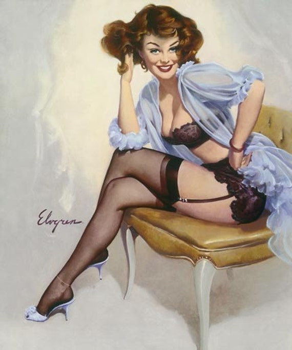 ELVGREN WELL SEATED Pin-Up Sheer See Through Lingerie