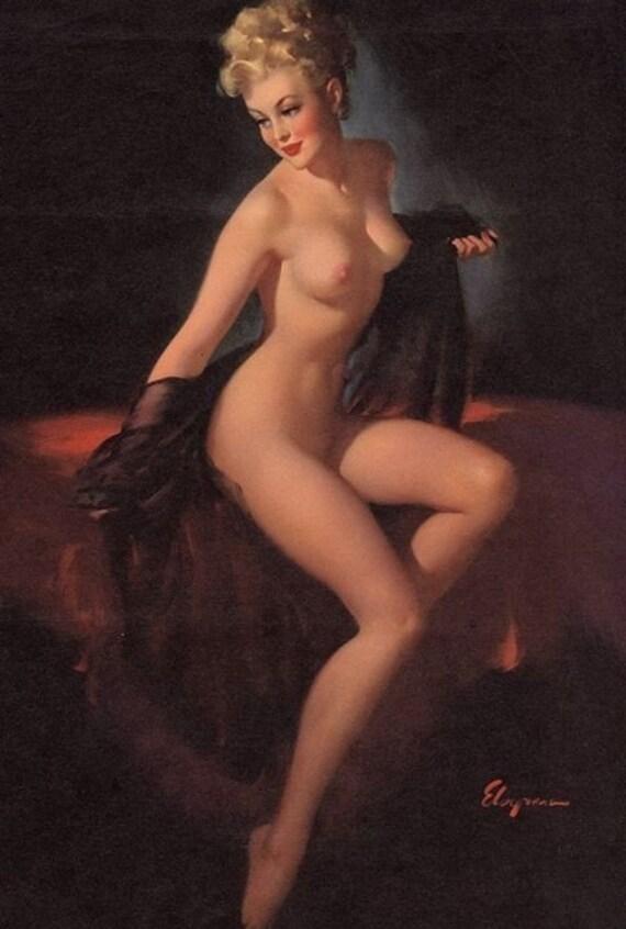 ELVGREN - UNVEILING  - PINUP - Nude Calendar art - Negligee Lingerie 1940's Pin-Up -  Fine Art - Limited Edition - Vanguard Gallery
