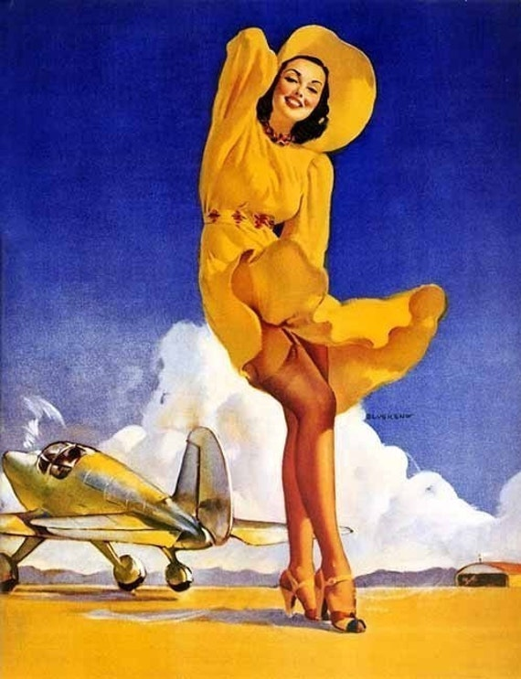 ELVGREN - TAILWIND - PINUP - Art Deco Aviation Airplane 1940's nylon leg calendar girl pin-up