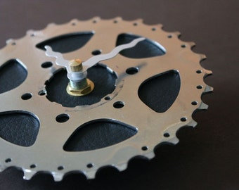 Bicycle Gear Clock - Jet Black | Bike Clock | Wall Clock | Recycled Bike Parts Clock