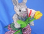 Tulip  Mohair Rabbit with Needlefelted Face