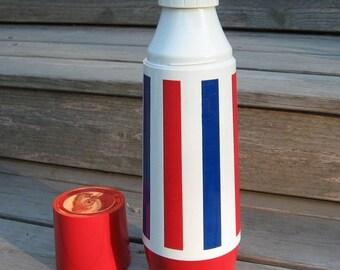 Thermo Serv quart red, white, blue thermos