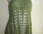 crochet dress, mini, halter top, festival clothing, green, bohemian, beach cover up, gypsy