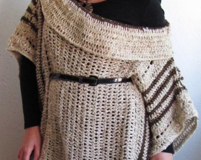 OVERSIZE PONCHO/ cowl neck poncho/ plus size sweater/ plus size poncho/ crochet poncho/ crochet sweater/ boho poncho/ womens sweater