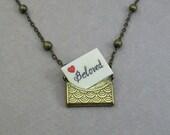 Scrimshaw message envelope necklace Custom Personalization