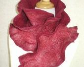Flamenco Felted Scarf - Raspberry Ice - reversible
