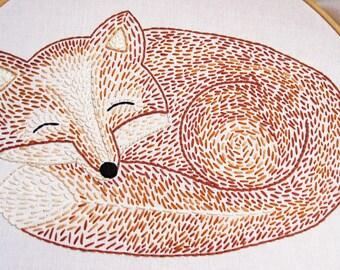 Sleepy Fox Hand Embroidery Pattern
