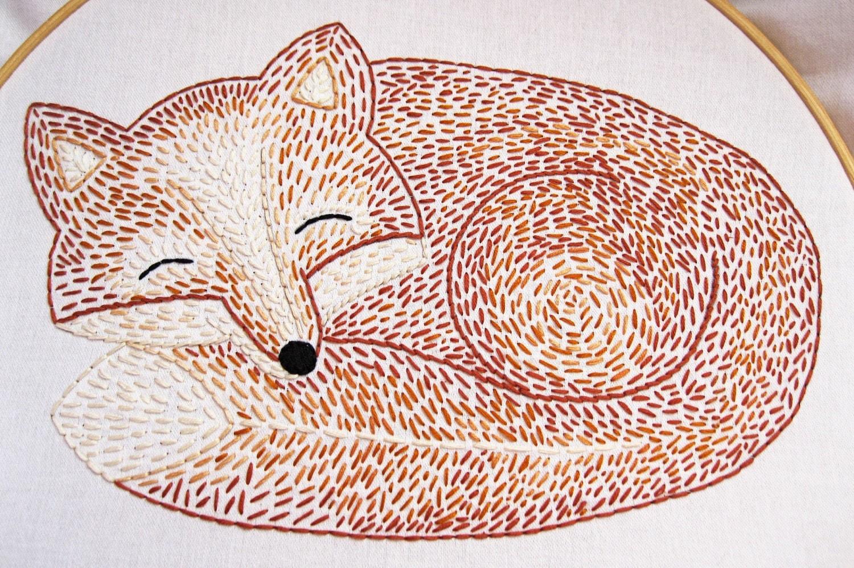 Sleepy fox hand embroidery pattern by earlybirdspecial on etsy
