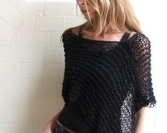 black poncho, Black Cotton poncho womans PONCHO, knitwear