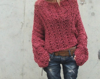 Dusky Redish pink chunky sweater / chunky sweater 3-4 left in this shade