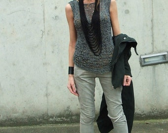 Grey vest, cotton mix summer tank, lightweight and loose knit