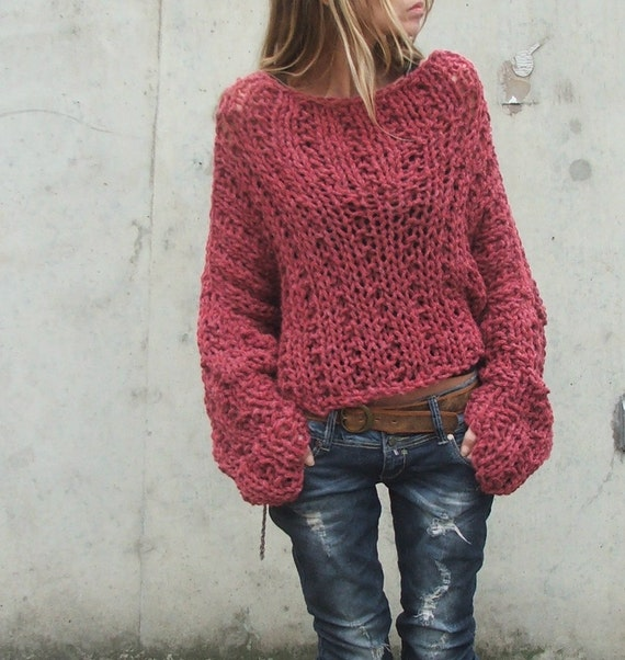 Dusky Redish pink chunky sweater / chunky sweater