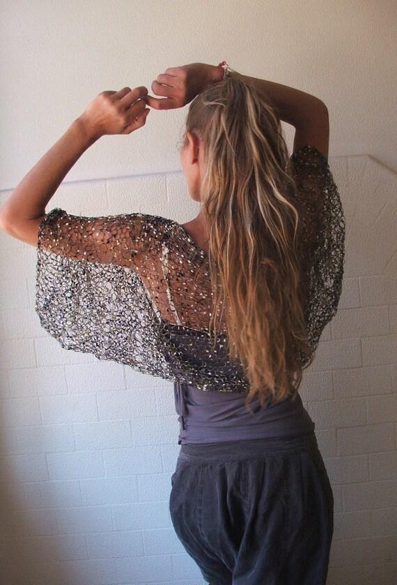 Shrug, Black shrug, black Gold and Silver shrug, firefly loose weave evening shrug / women's shrug / knitwear / dinner dance shrug