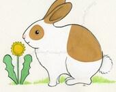 Original 8x6 Watercolor - Bunny Rabbit - Brown and White