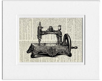 antique sewing machine print
