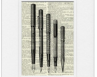 vintage writing pen print
