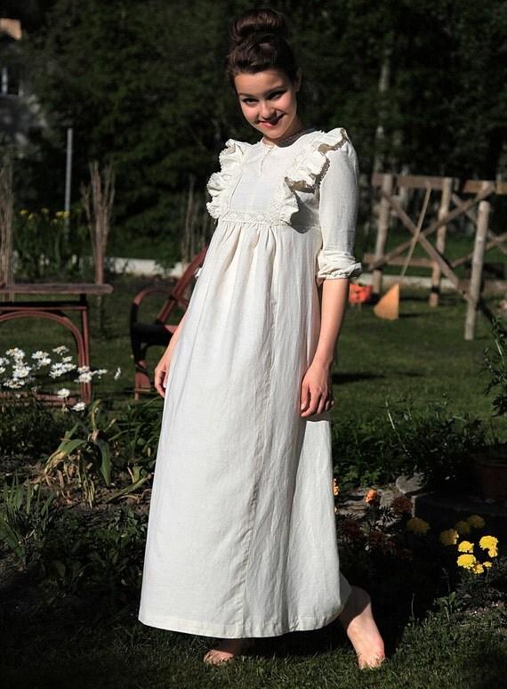 Reserved . 1970s WEDDING Dress . Bohemian Hippie Prairie Maxi White Summer Ivory Ruffled Bib Empire Waist Babydoll Natural Linen . sz XS