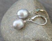 Pearl Earrings, Gray Freshwater Pearls Wire Wrapped on Sterling Silver Leverbacks - Simplicity Gray Pearl Earrings - carrieWdesigns