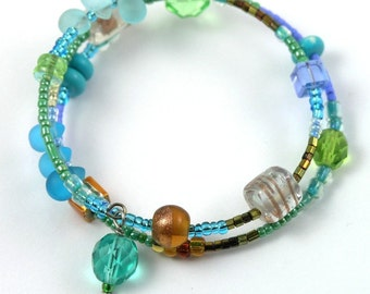 Graceful Romance - Beaded Cuff . Slender Bracelet - Pressed Glass, Crystal, Lampwork Beads, Seed Beads