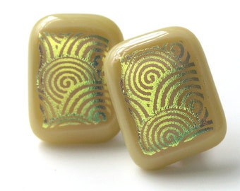 Golden Clip on Earrings - Butter Yellow - Gold Waves - Fused glass Clip Earrings