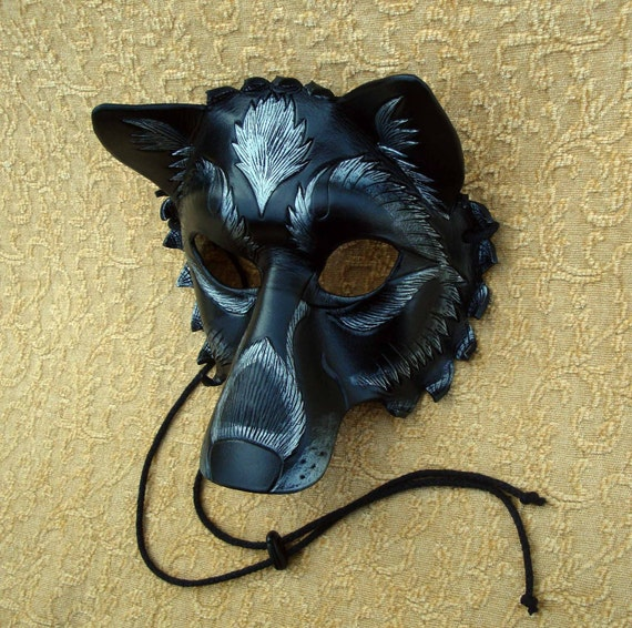Black and Silver Wolf... Original Handmade Leather Wolf Mask