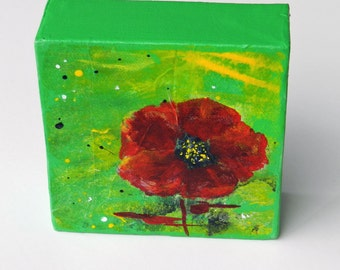 Lime Abstract Poppy Painting, 4 inch gallery wrap canvas, bright colored art to set on a book shelf or as part of a wall art grouping