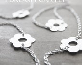 "48"" Flower Chain Cherry Blossom necklace in sterling silver  - PRIORITY MAIL"