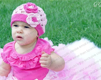 """Beanie Hat Crocheted """"The Natalyia"""" Pastel Pink Hot Pink Dressy Casual Hat Summer Trim Flower Bright Vibrant"""