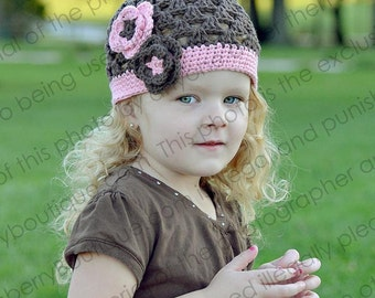 """Crocheted Beanie Hat """"The Ivy"""" Chocolate Baby Pink Flowers Trim Colored Band Open Weave Choos your Size Baby Toddler"""