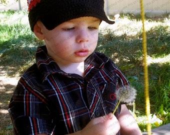 """Newsboy Hat Crocheted """"The Linkin"""" Visor Beanie Black Red White Skater Hat"""