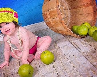 "Newsboy Hat Crocheted ""The Kara"" Lime Yellow Pink Orange Visor Beanie Page Boy Hat Bright Colors"