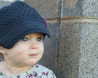 "Crocheted Newsboy The ""Natalie Hazel"" Baby  Charcoal Grey/Soft Violet Girly Trendy Cute Pretty Fall Winter Grey"