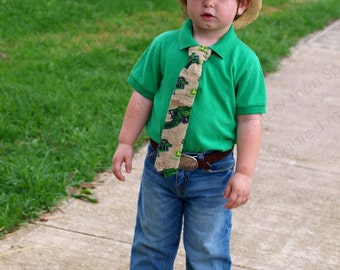 Little Boys, Tie  Tan, Green, Yellow Dressy, Casual Tractor Farm Equipment