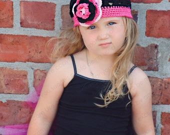 """Beanie Hat Crocheted """"The Punk Princess"""" Black White Hot Pink Open Weave Style Trim Flower"""