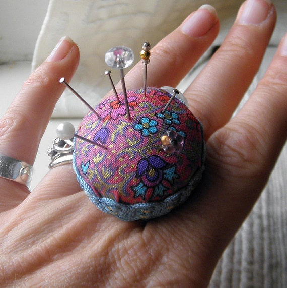 Pink and Blue Floral Pincushion Ring