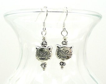All Sterling Silver Cat Jewelry ~ Cat Earrings ~ Jewelry with Cats  E0808-01C