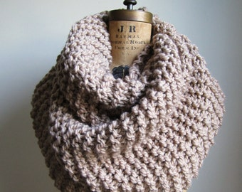 Super Snuggly Chunky knit cowl Camel. Tan. Light Brown. Handmade knitwear. Gifts for her.