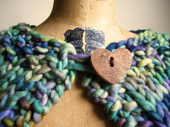 Knit Capelet Green. Turquoise. Purple. Bohemian lady.