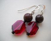 Raspberry Fuchsia Swarovski Crystals with Fancy Jasper Earrings