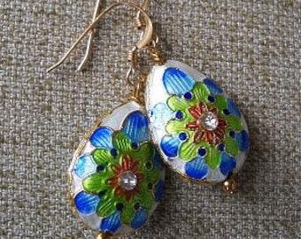 Teardrop Mandala Oriental Rainbow Lotus Enamel Cloisonne Earrings