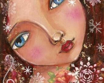 Original  Painting, Mixed media,  winter Art, portrait, Home Decor, original Art, Snow flakes