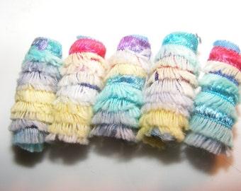 Swishy swishy girly whirly Fiber Bead, Textile art bead, dread hair tube, dreadlock decoration, artisan jewelry bead, macrame bead