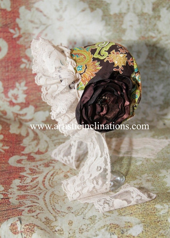 Autumn Flowers - Newborn Bonnet, Handmade Bonnet, Baby Bonnet, Chic and Shabby Brown Floral Bonnet