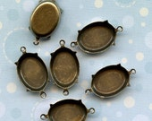 Six Brass Settings 18x13mm Closed Back with Two Loops Made is USA (6-3-6)