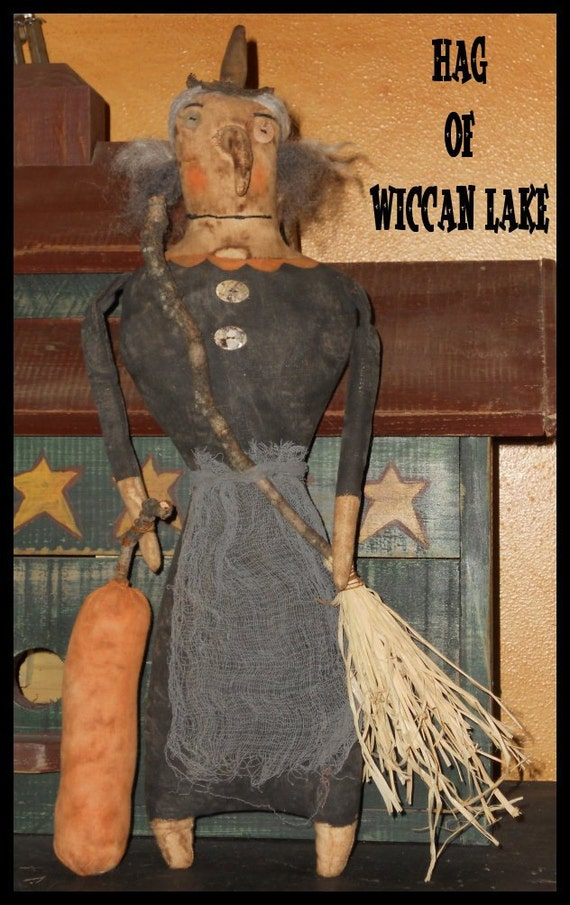 Witch Halloween Hag of Wiccan Lake with broom and pumpkin 366e Crows Roost Prims epattern SALE immediate download