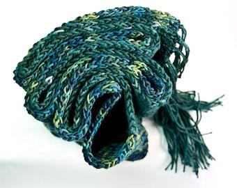 Handknit scarf  Greenblue / scarf / SPRUCE ISLAND // forest green / moss green /  yellowish