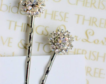 Flower Rhinestone Swarovski Crystal Bridal Bobby Pin Set of 2