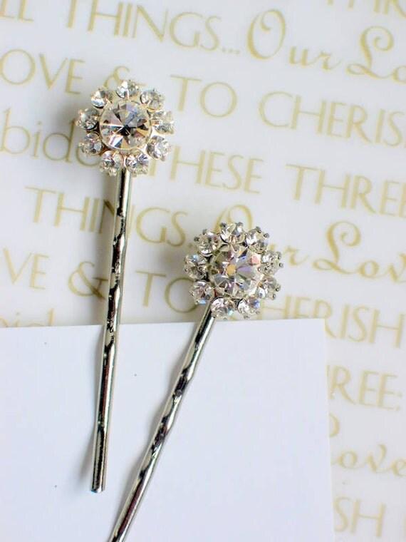 Flower Rhinestone Swarovski Crystal Bridal Bobby Pin Set of 2